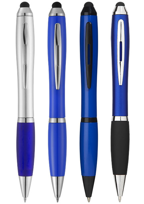 Promotional Nash coloured stylus ballpoint pen with black grip