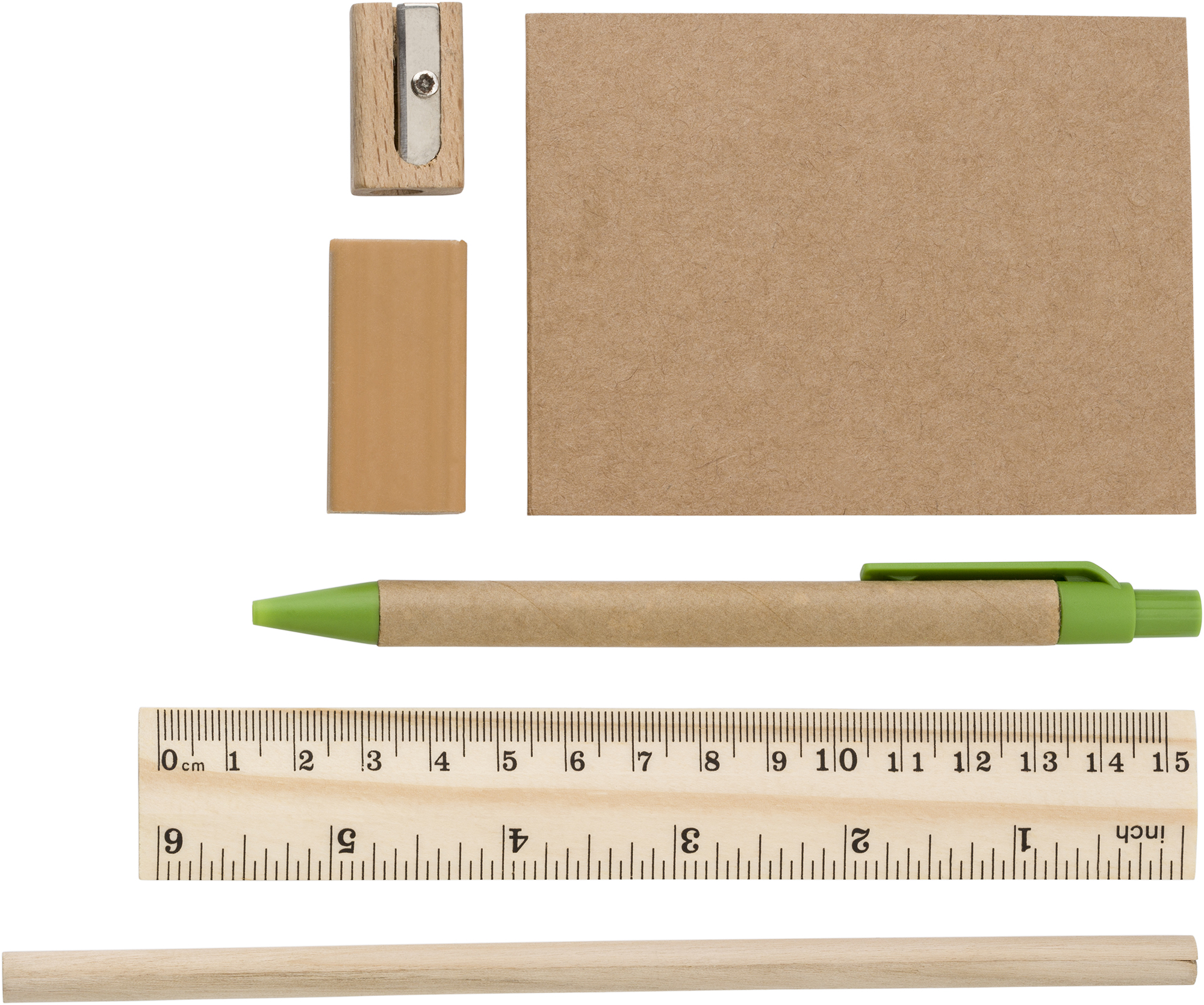 Branded ECO Non-woven pencil case with contents.