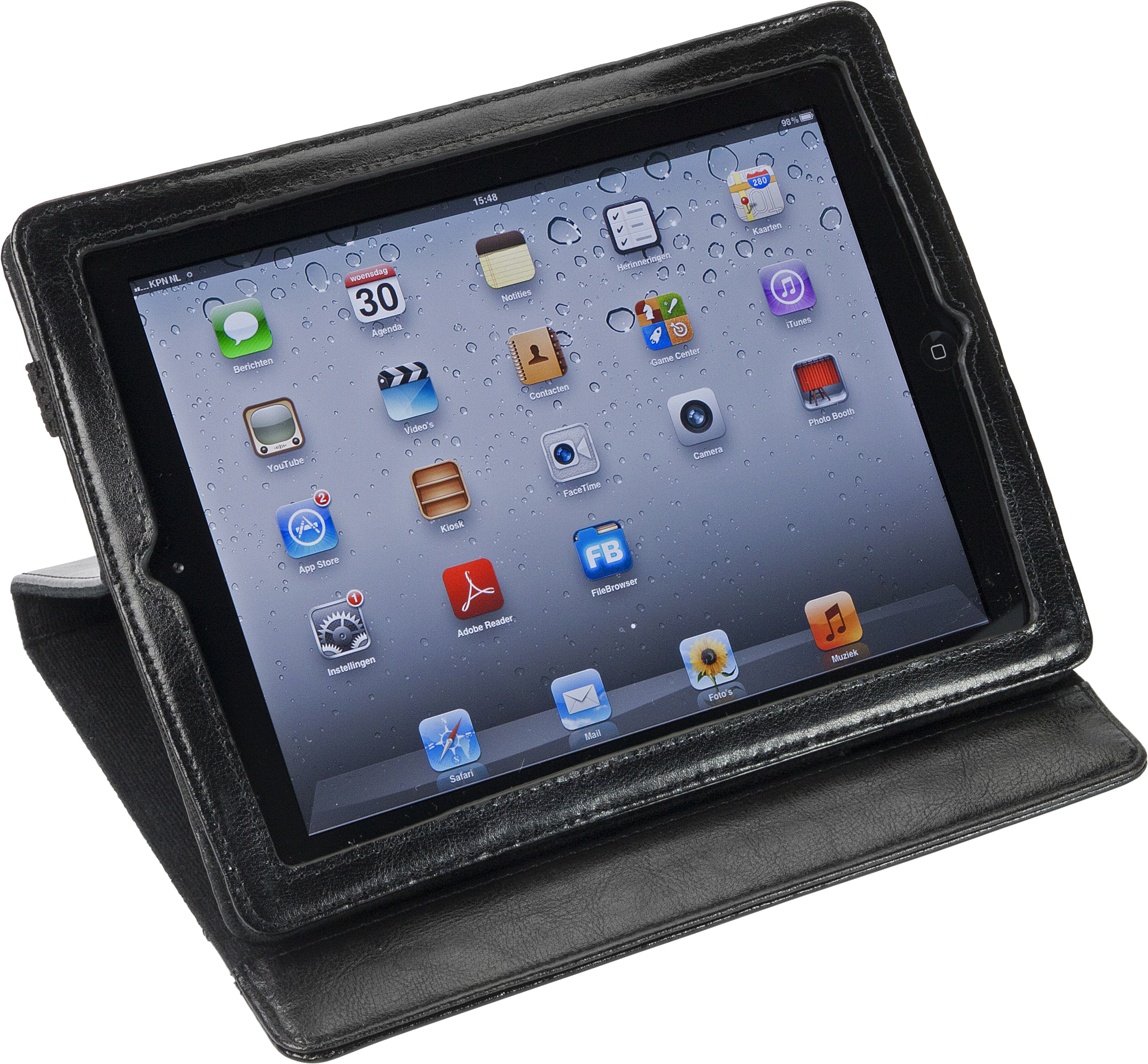 Promotional iPad holder in bonded leather.