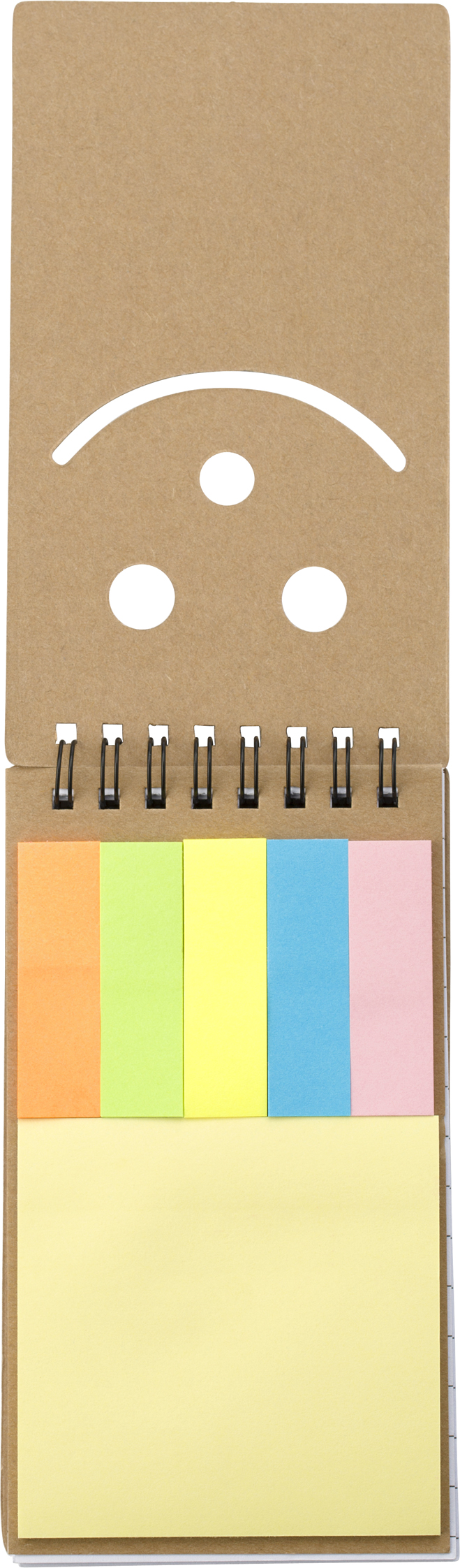 Branded Notebook with sticky notes.