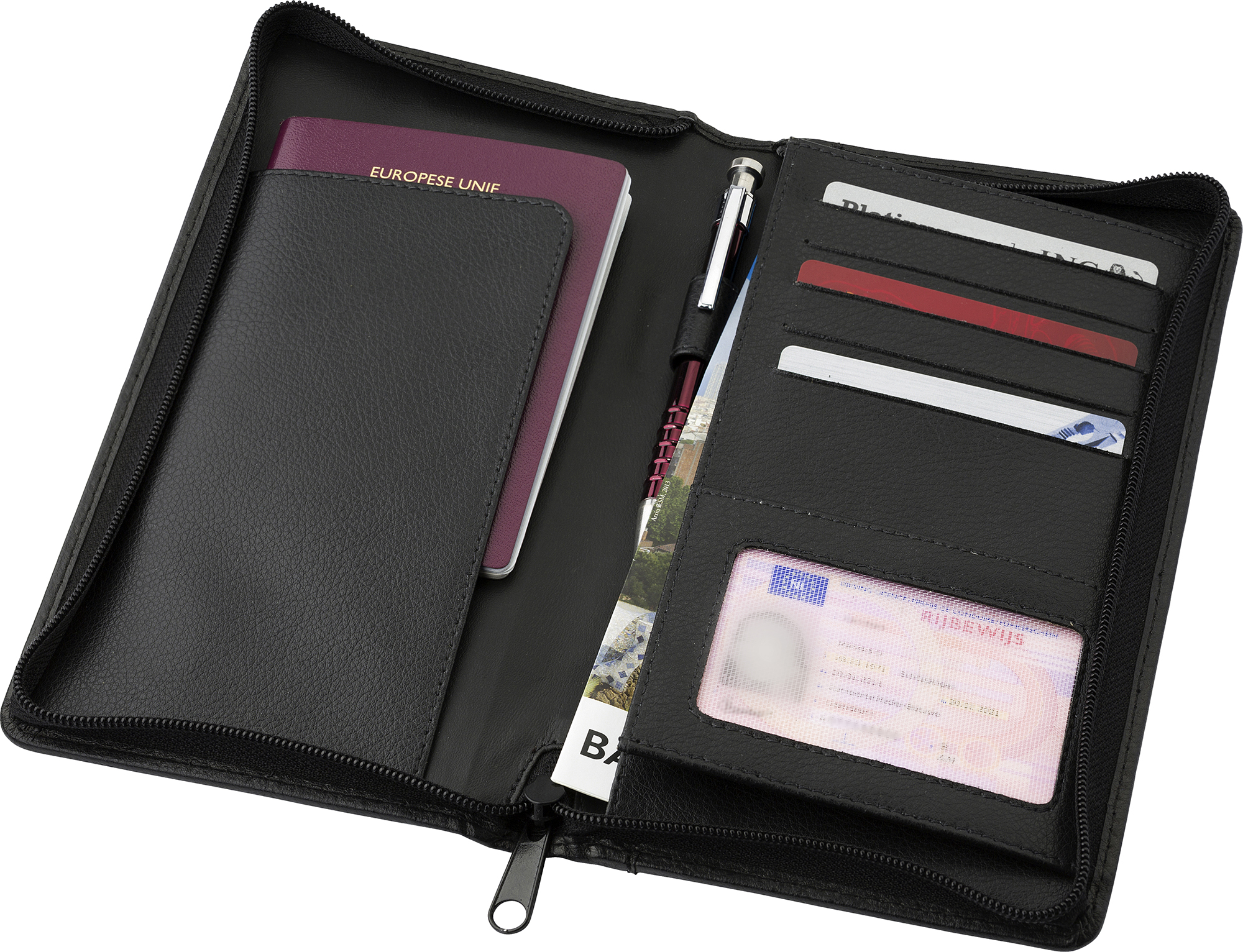 Promotional Leather Charles Dickens® travel wallet.