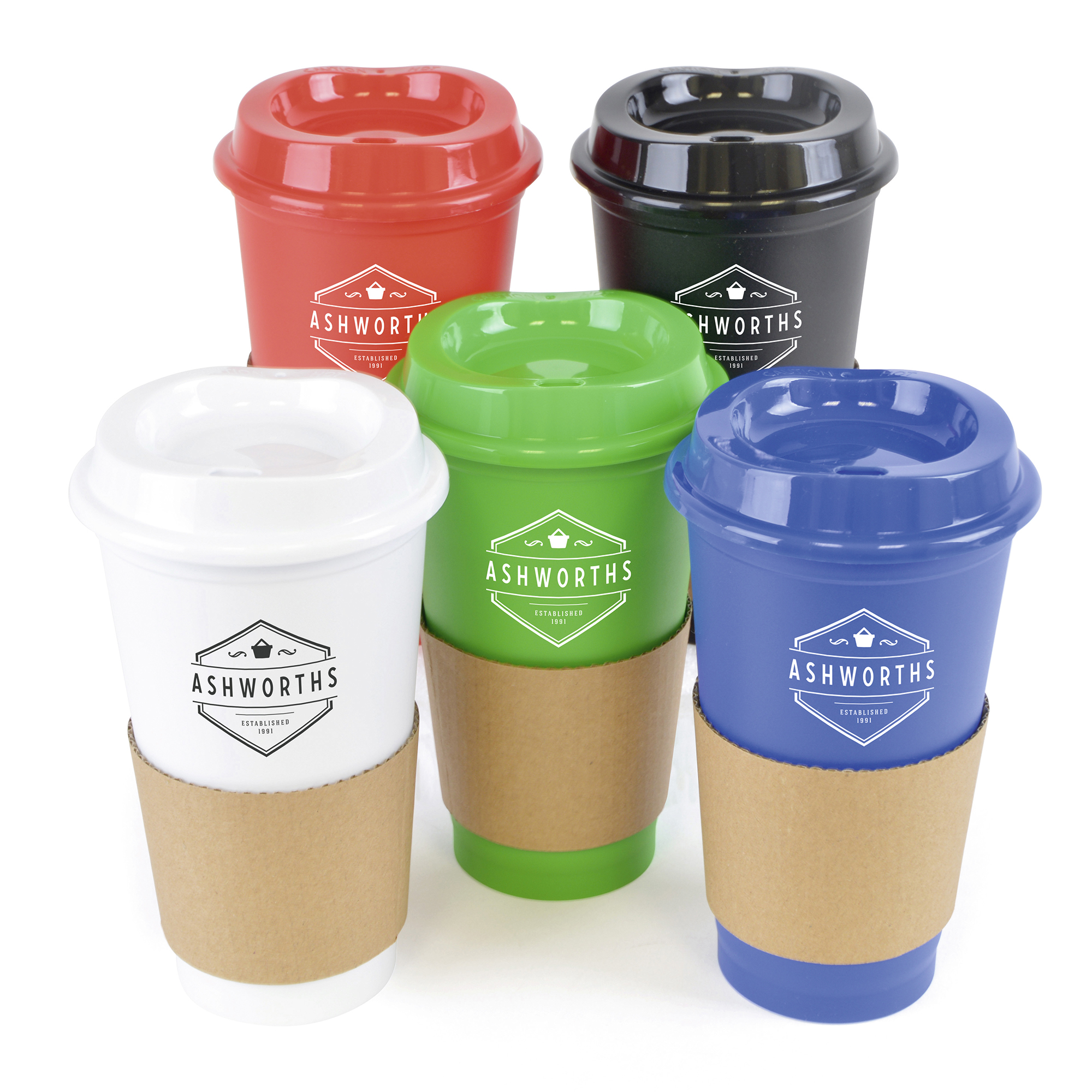 Promotional Cafe 500Ml Plastic Single Walled Take Out Style Coffee Mug