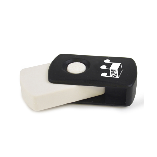 Promotional Covered Eraser 4.5Cm White Eraser With Black Plastic Cover