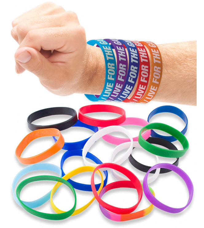 Promotional Silicone Wristband With Aluminium Patch