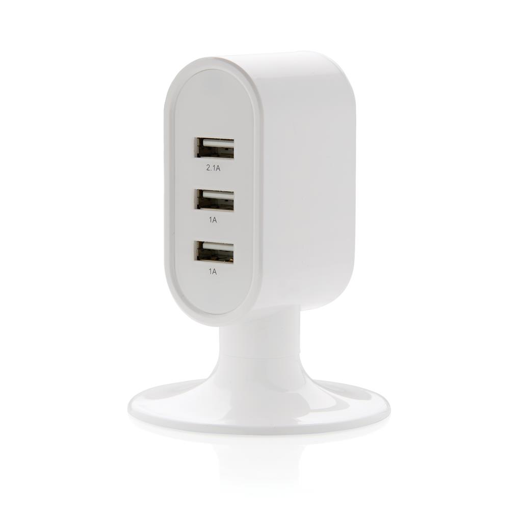 Printed 3 port USB desk charger, white