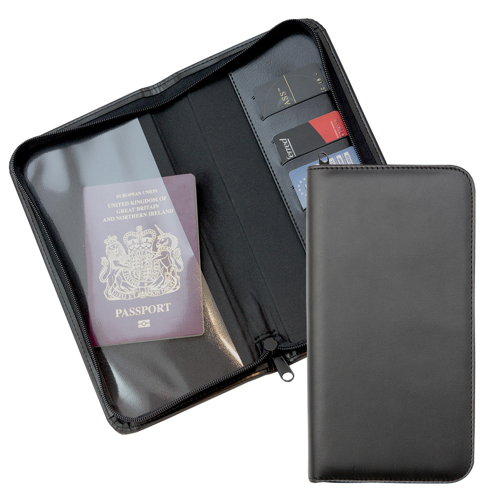Promotional Zipped Travel Wallet with one clear pocket and one material pocket with card slots.in a choice of Belluno Colours