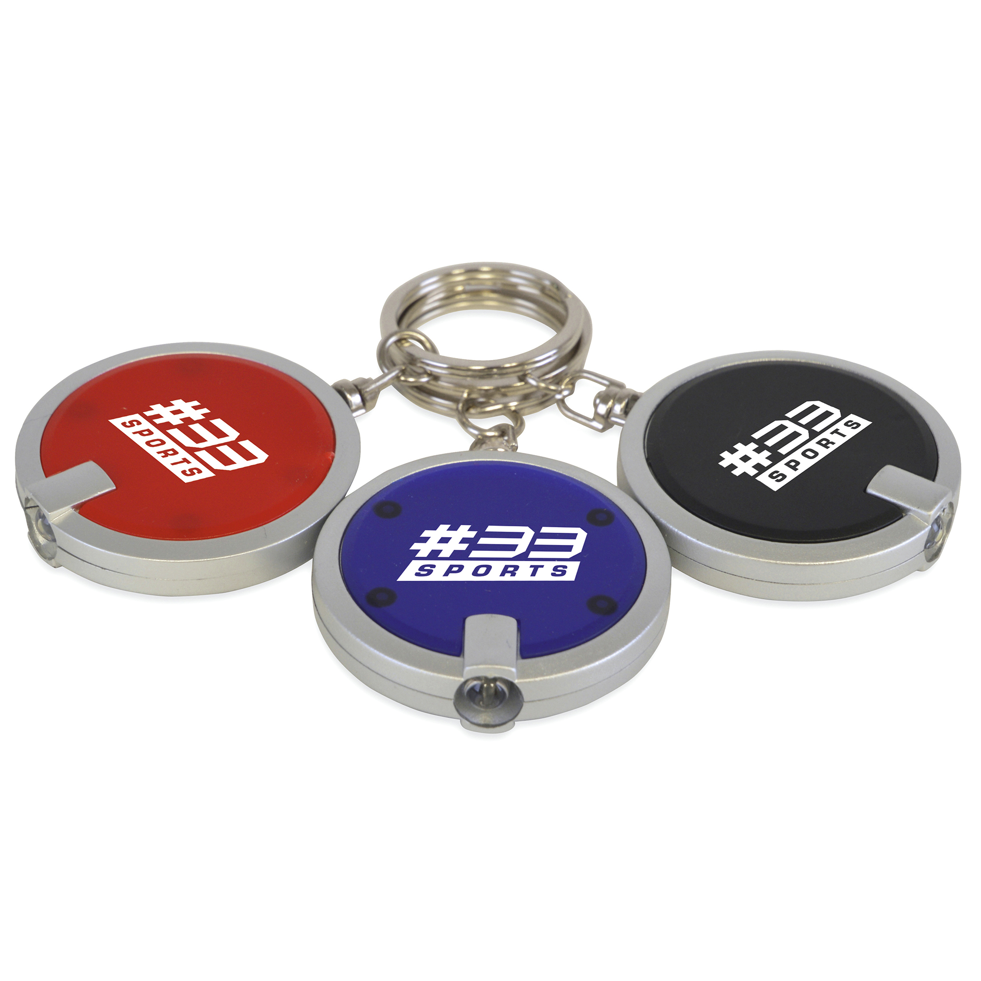 Promotional Sphere Plastic Round Led Keyring Torch