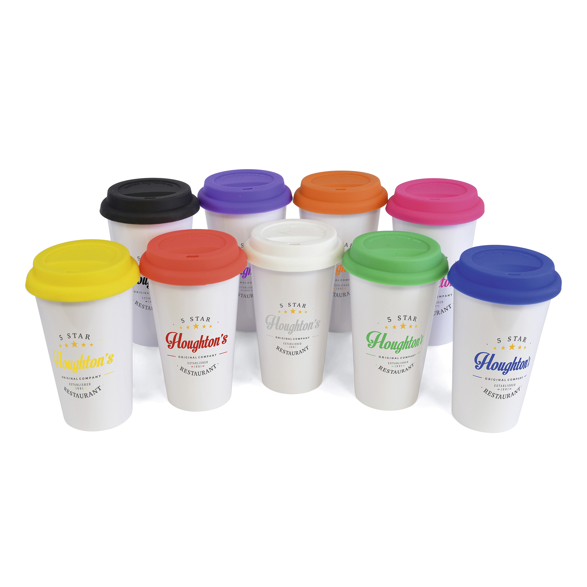 Promotional Plastic Take Out Mug 400Ml Double Walled White Plastic Take Out Style Coffee Mug