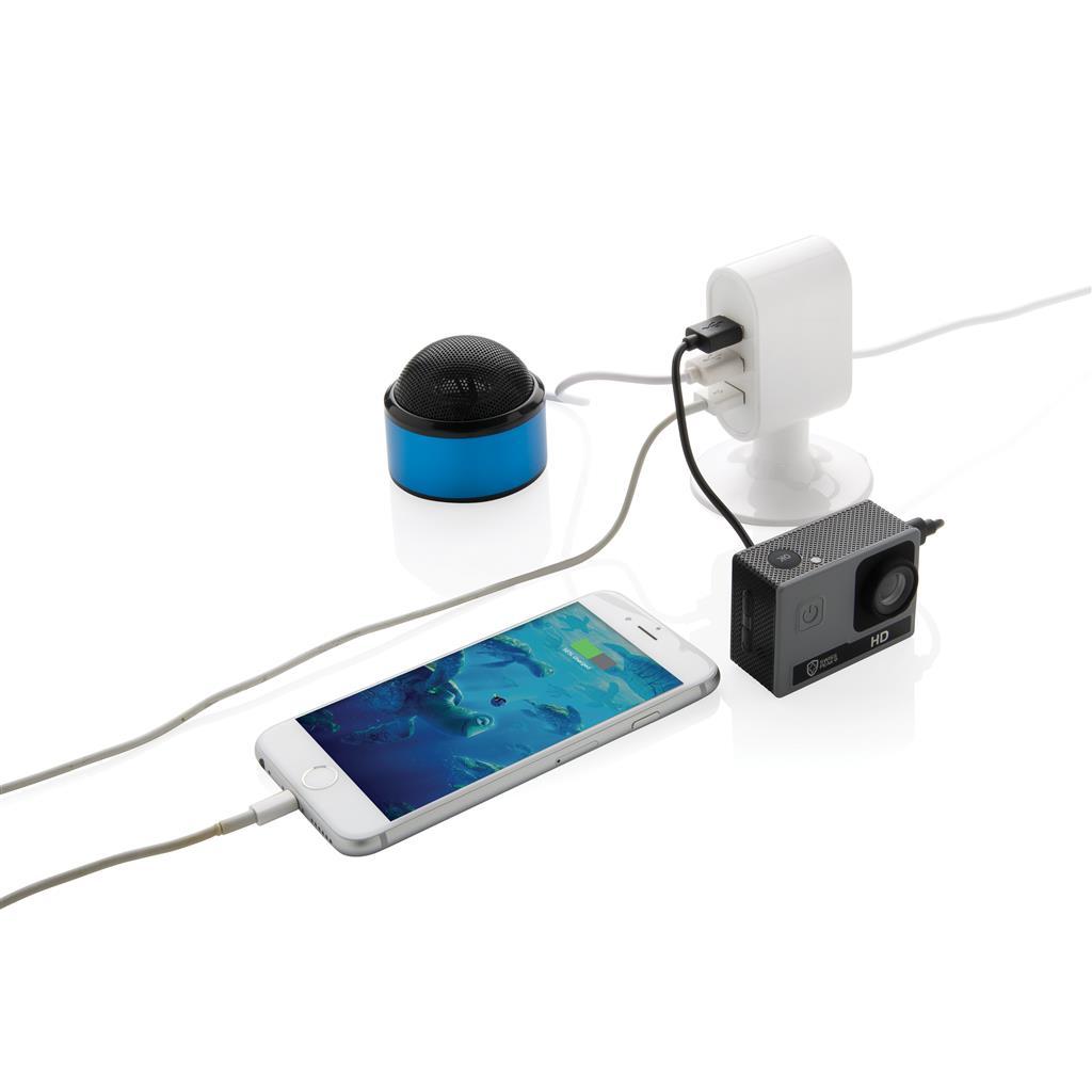 Branded 3 port USB desk charger, white